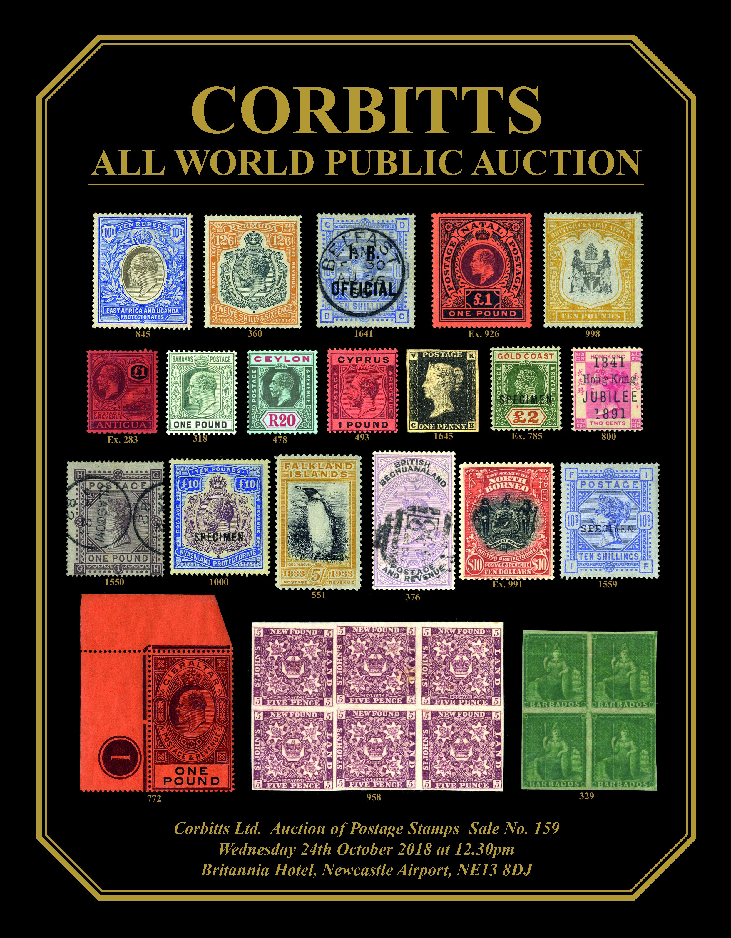 Stamp auctions and coin auctions by Corbitt Stamps