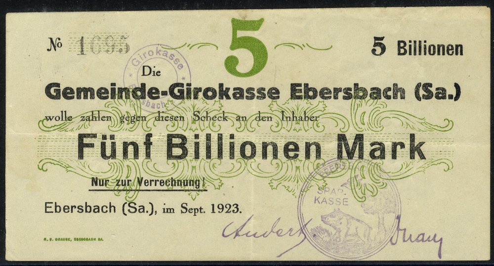 Germany 5 billion mark banknote