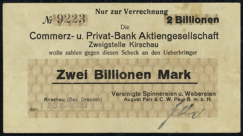 Germany 2 billion mark banknote