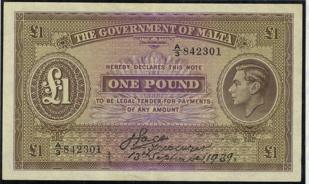 Malta 1939 £1 banknote