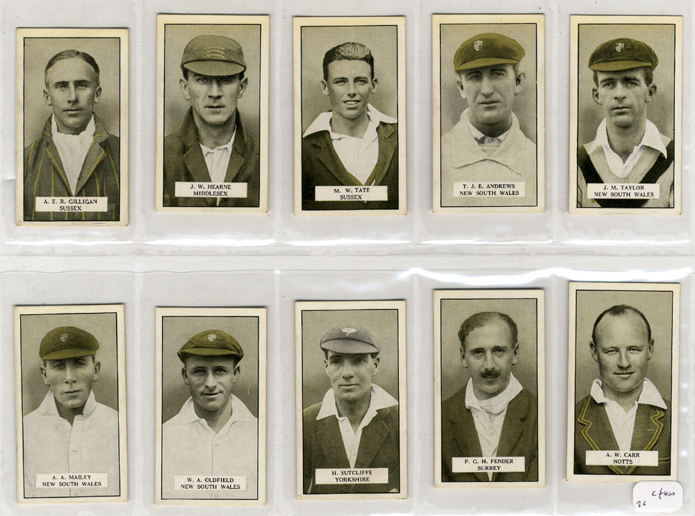 Cohen Weenen & Co 1926 Cricketers complete set of 25 cigarette cards