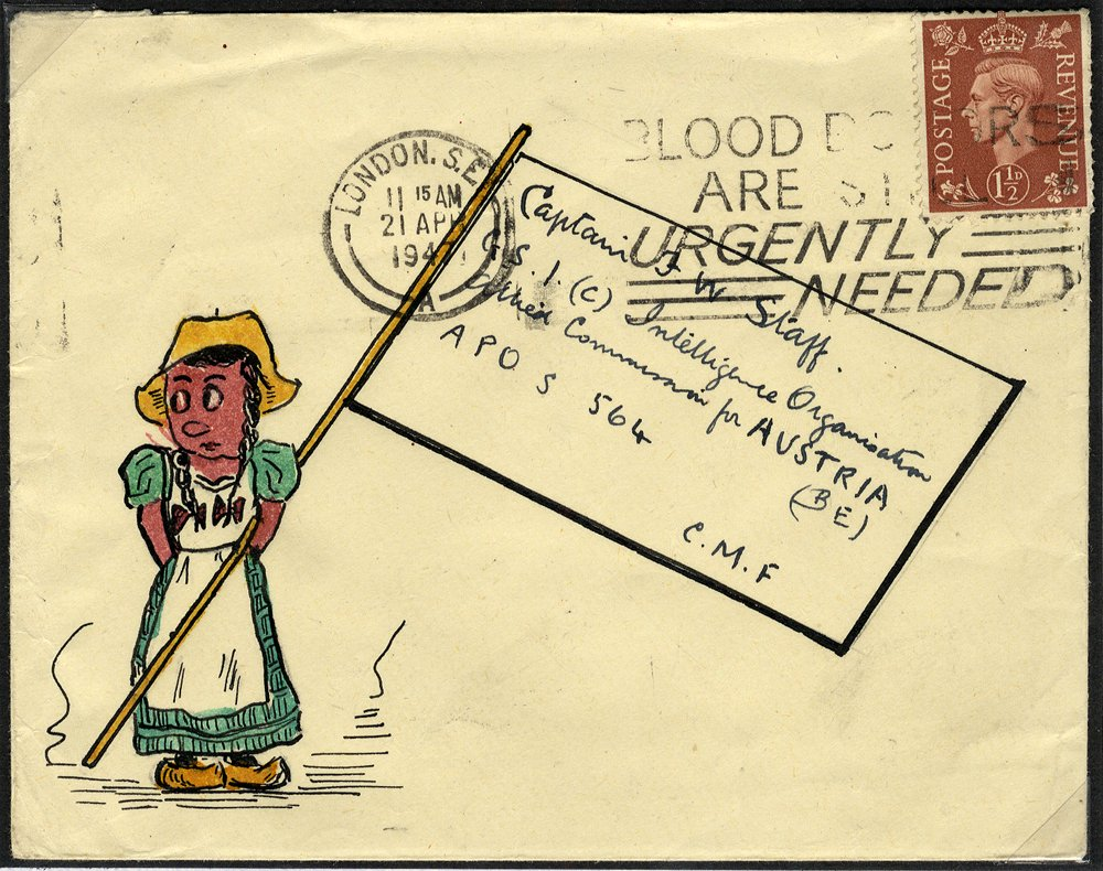 1947 21 Apr 1½d KGVI cover from London to CAPTAIN F W STAFF (famous philatelist), Intelligence Organisation, AUSTRIA