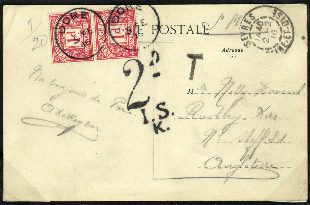 1916 Postage Due postcard from France to London