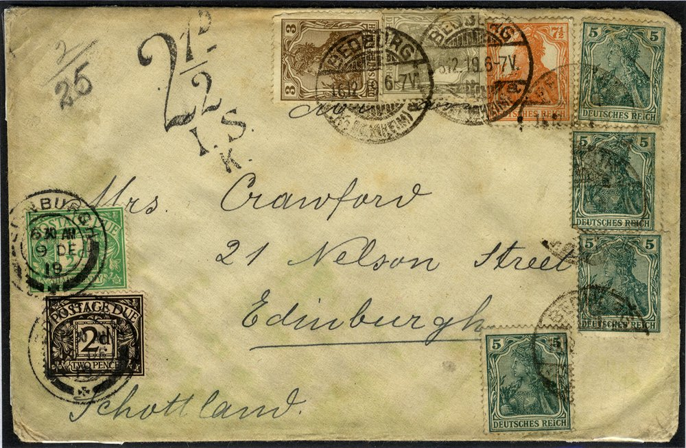 1919 Postage Due cover from Germany to Edinburgh