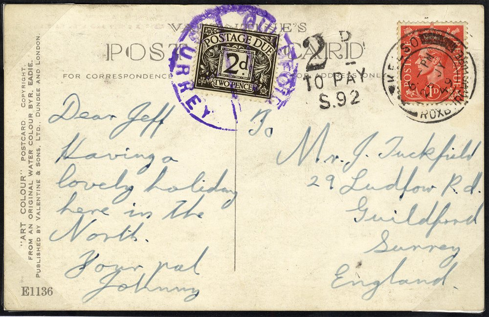 1949 Postage Due postcard to Guildford, Surrey