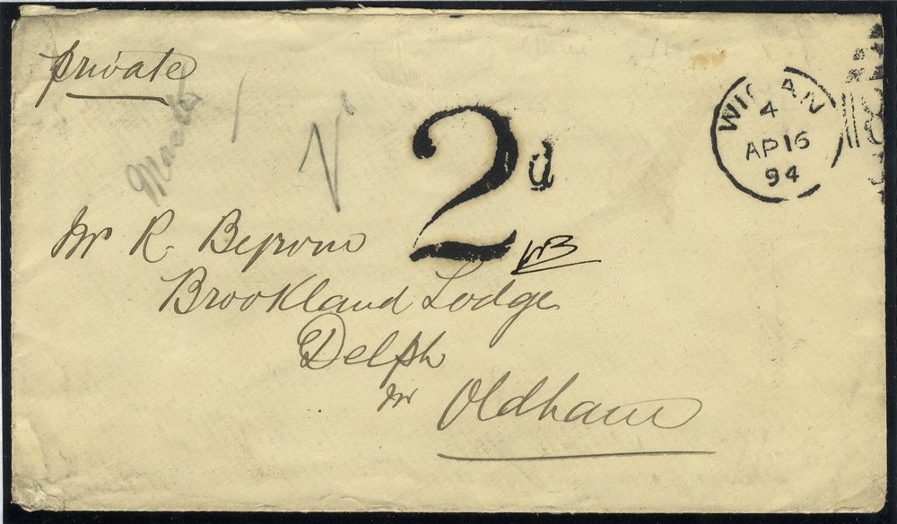 1894 2d Postage Due postcard from Wigan to Delph