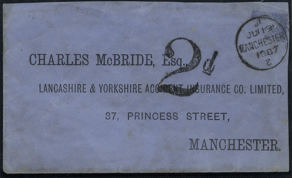 1887 2d Postage Due local Manchester printed envelope