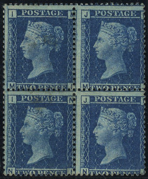 1858 2d Plate 7 Mint block of four SG45