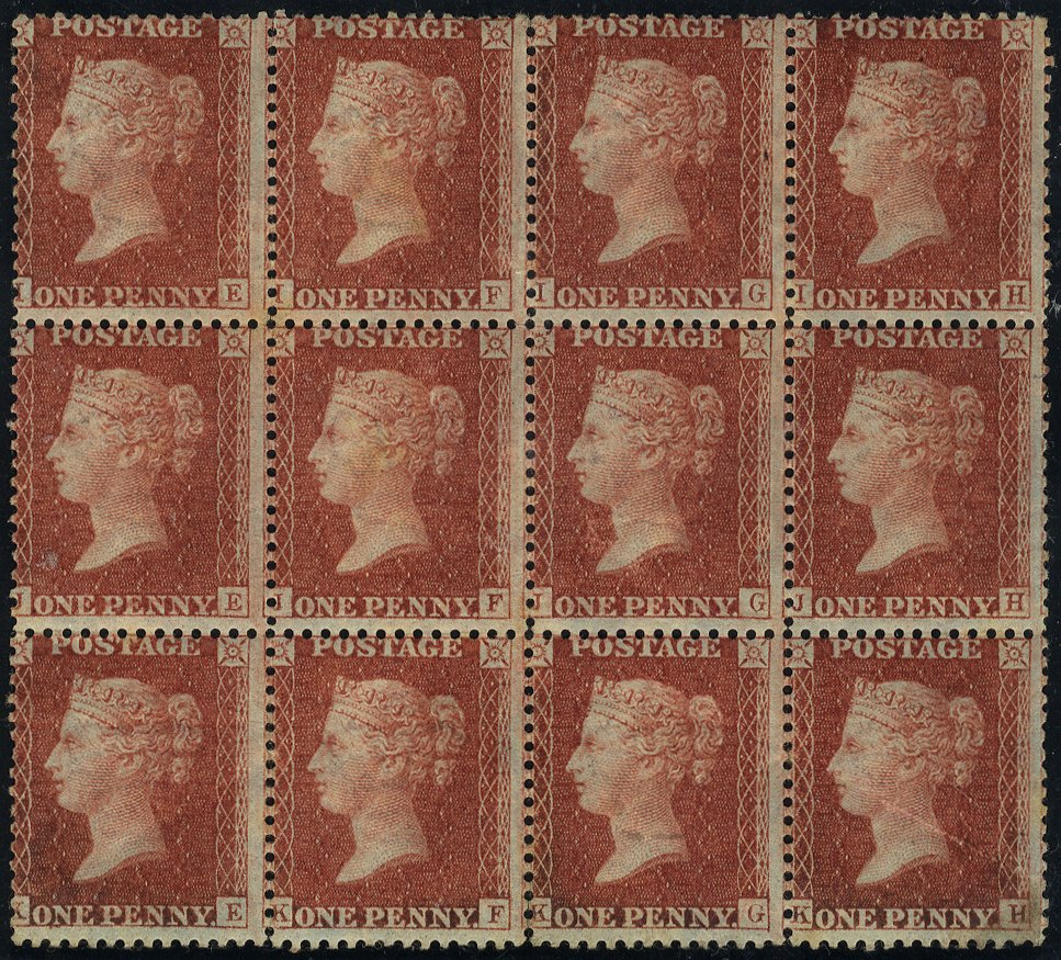 1856 1d red-brown MINT block of twelve