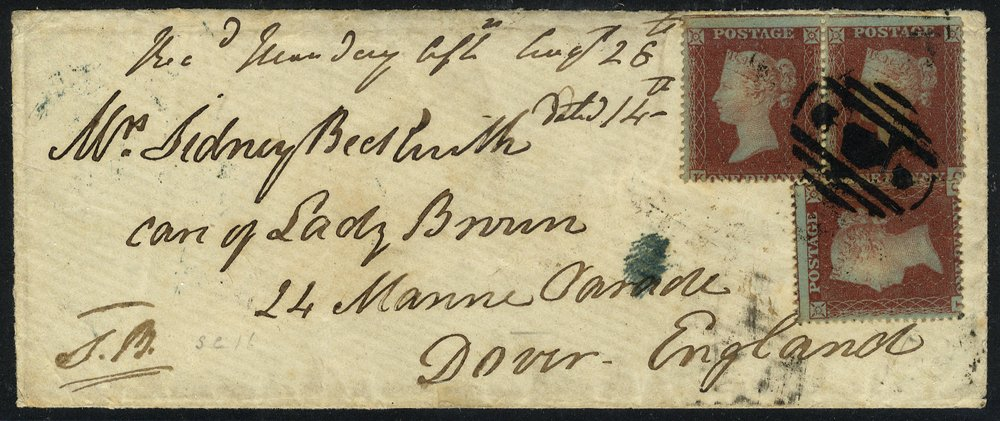 1854 cover to Dover used in Crimea 'Crown between Stars' postmark