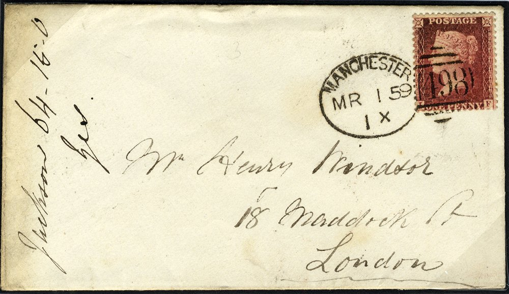 1859 Manchester Spoon on cover to London