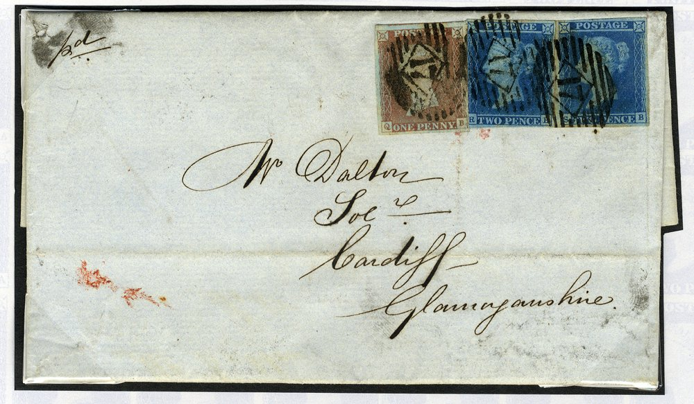1847 cover franked 1841 1d & 2d pair