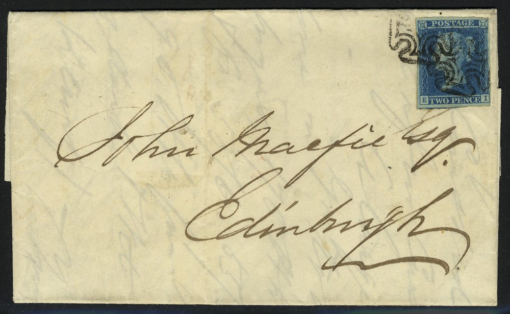1843 cover franked 2d Greenock distinctive Maltese Cross