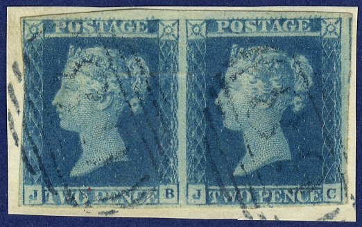 1841 2d Plate 3 pair blue cancel