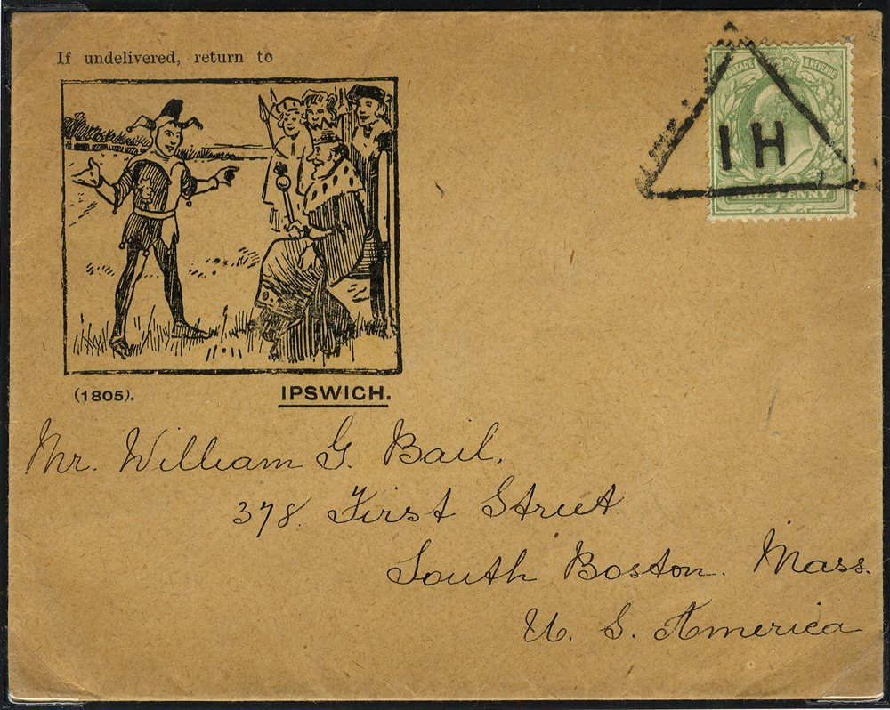 1916 illustrated cover cancelled Newspaper Triangualr cancel