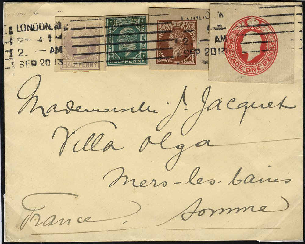 1913 stationery cut-outs used on cover to France