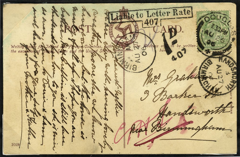 Postage Due 1906 postcard from Isle of Man to Handsworth