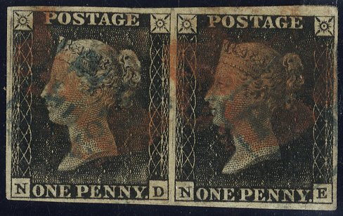 Penny black pair Plate 3 red Maltese Cross + blue Handsworth 'PyP/No 15' postmarks