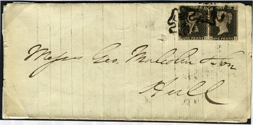 1841 cover Berwick to Hull franked penny black pair Plate 8