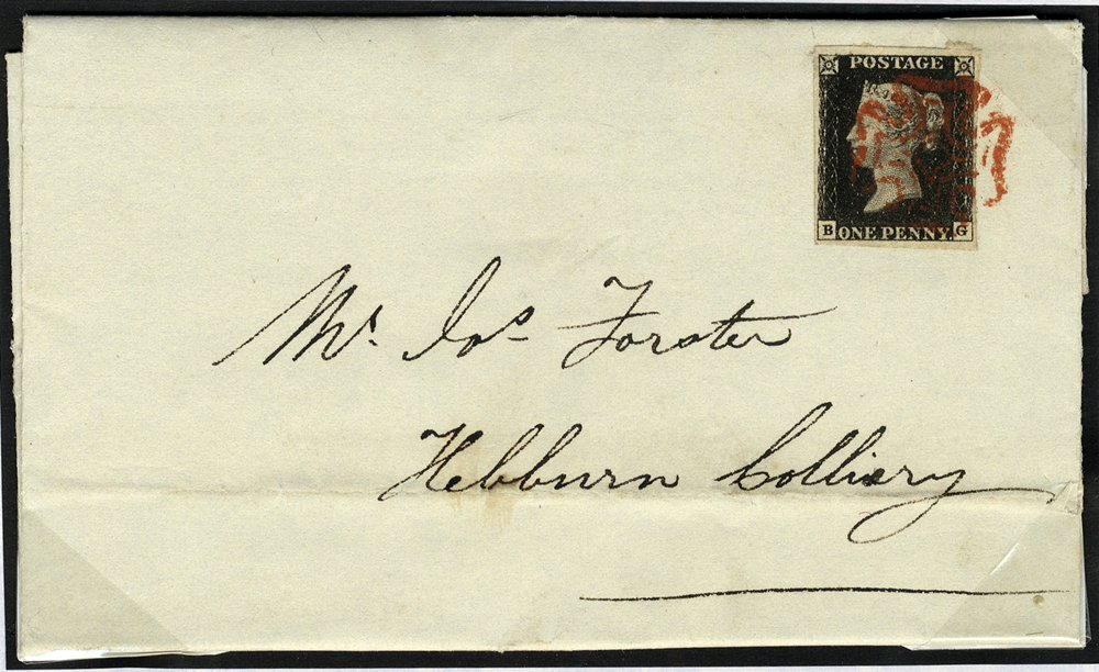1841 penny black Plate 4 cover Gateshead to Hebburn Colliery