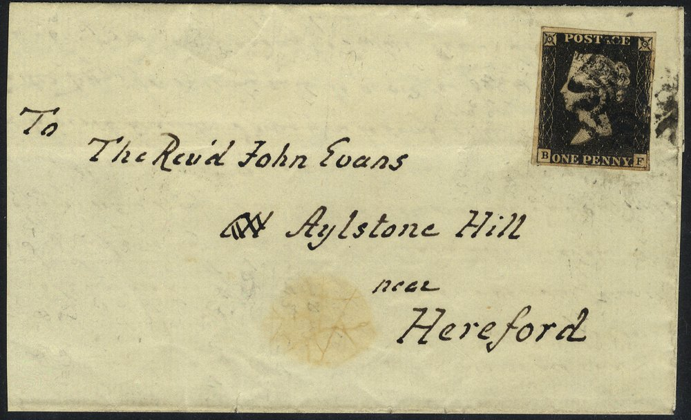 1841 penny black Plate 10 cover to Hereford
