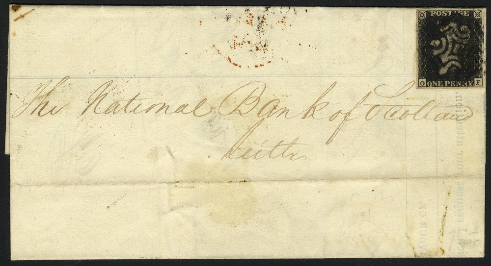 1841 penny black Plate 10 cover Stirling to Leith