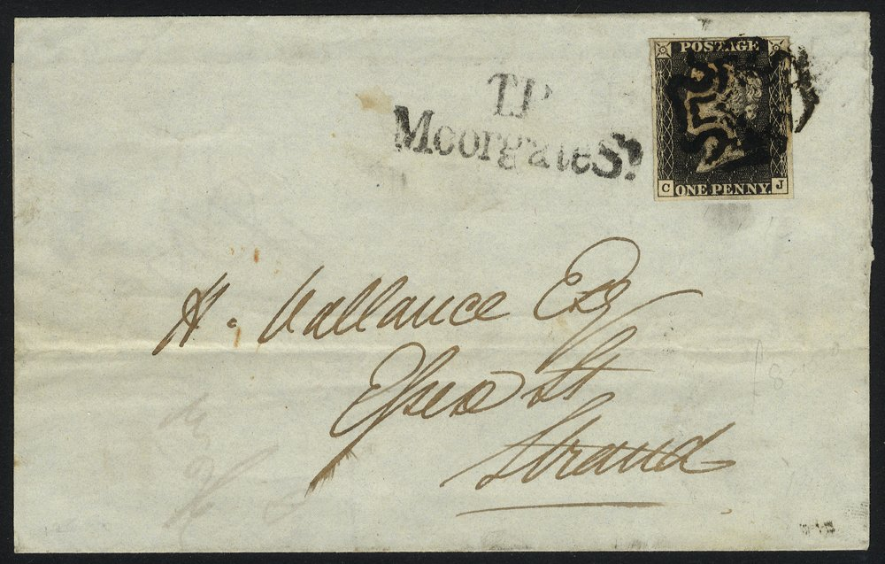 1841 penny black Plate 10 cover locally used in London