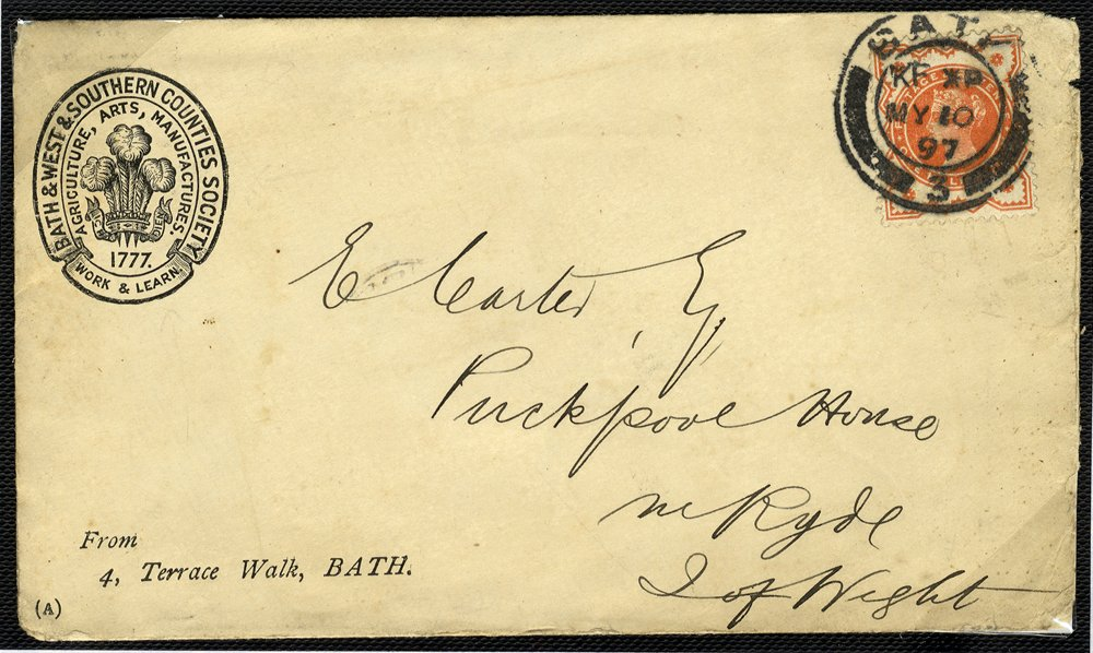 1887 Printed envelope Bath to Isle of Wight