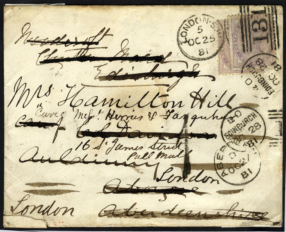 1881 re-directed London - Edinburgh cover