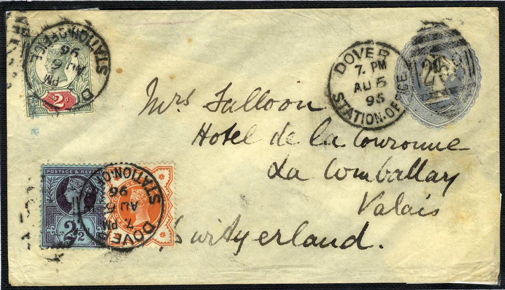 1887 2½d envelope uprated to Switzerland