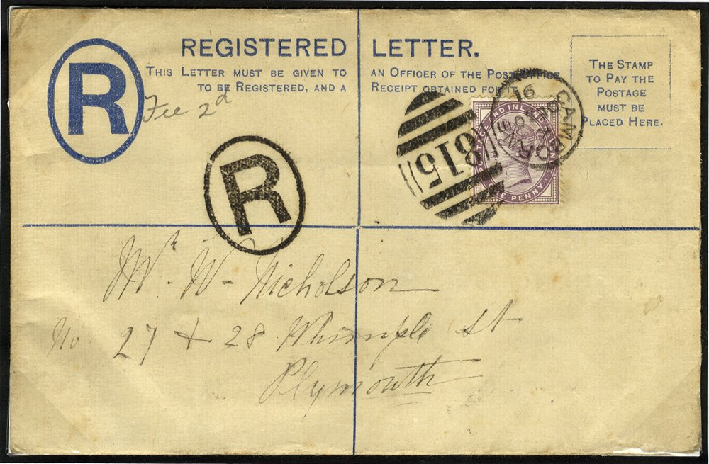1891 registered cover Camborne to Plymouth