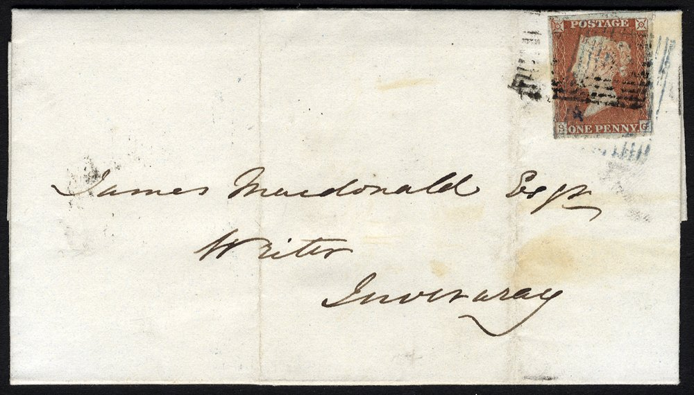 1848 cover Oban to Inverary bars blue & black cancels