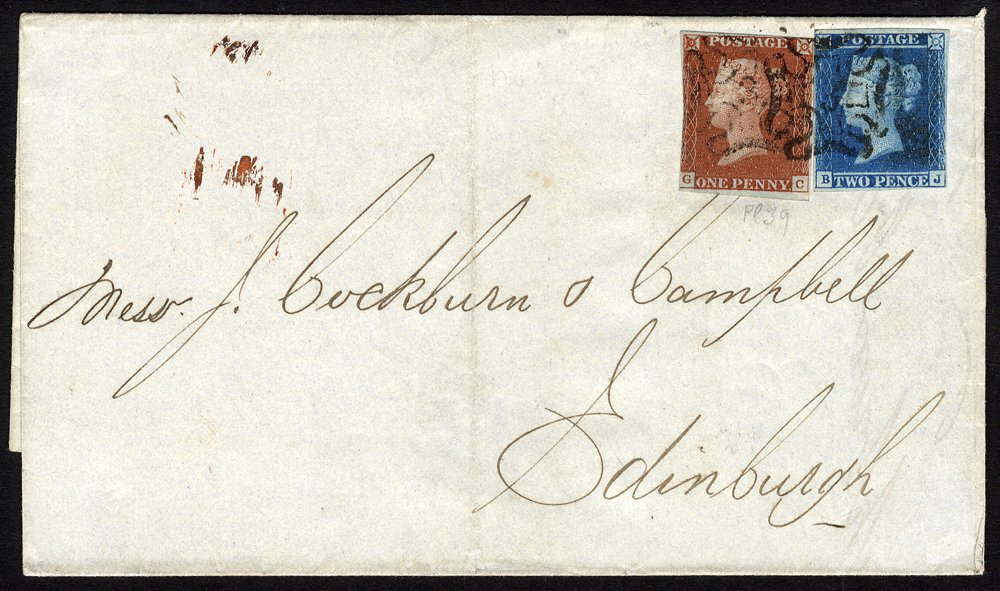 1844 cover to Edinburgh franked 1841 1d + 2d tied No 3 in Maltese Cross