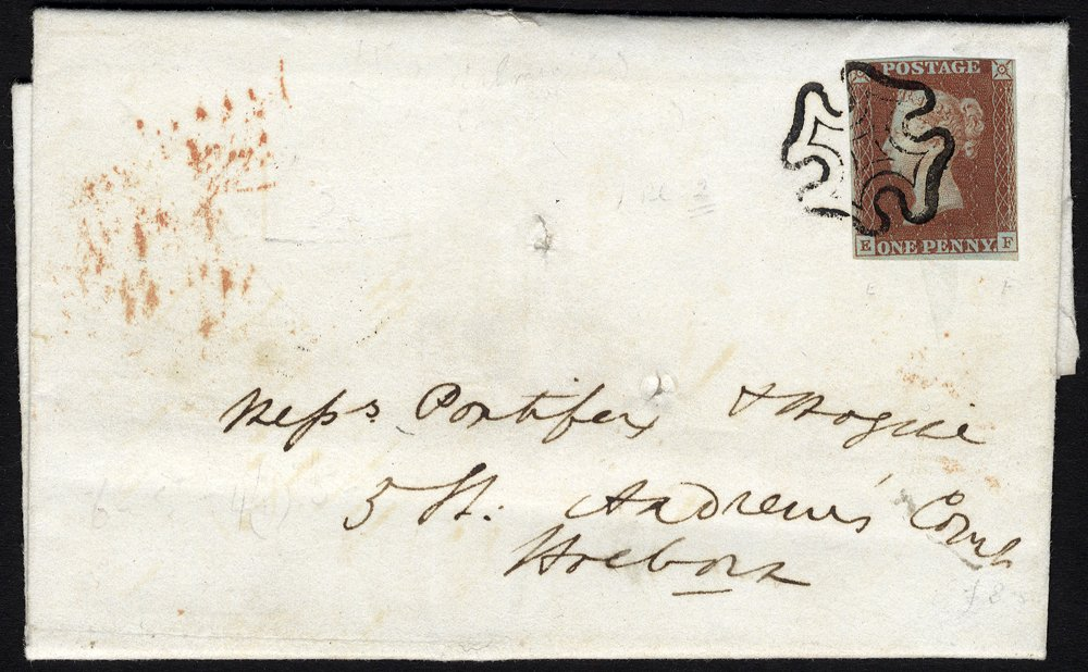 1841 red from black Plate 5 on cover Godalming to London
