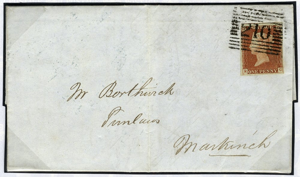 1841 1d red Plate 58 'P converted to R' used on cover Kirkcaldy to Markinch