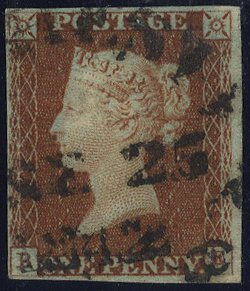 1841 1d red Plate 22 circular town cancel