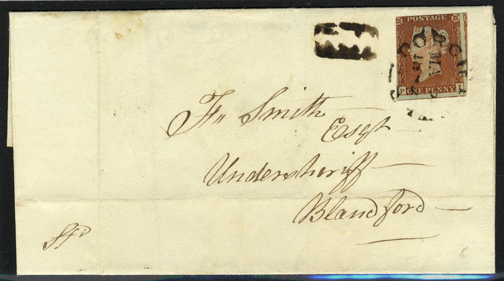 1842 1d red cover cancelled Dorchester circular date stamp