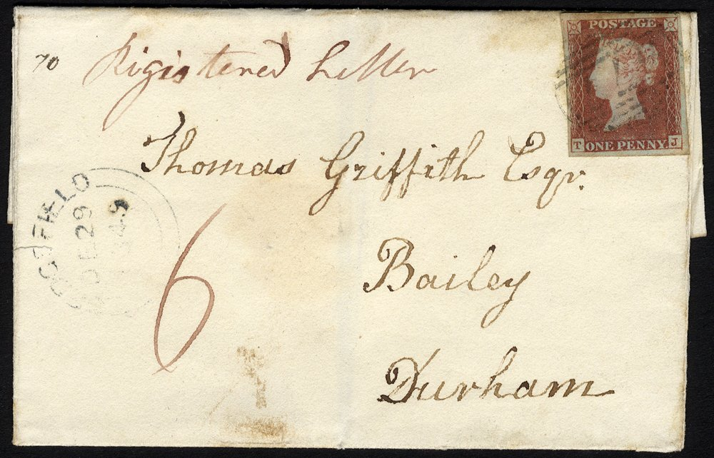 1849 registered cover Ferryhill to Durham 1d Plate 75
