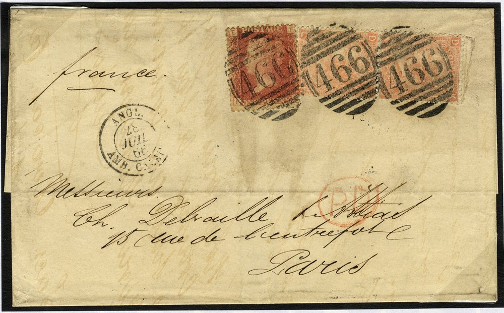 1866 cover to France franked 1d SG43, 4d pair SG94