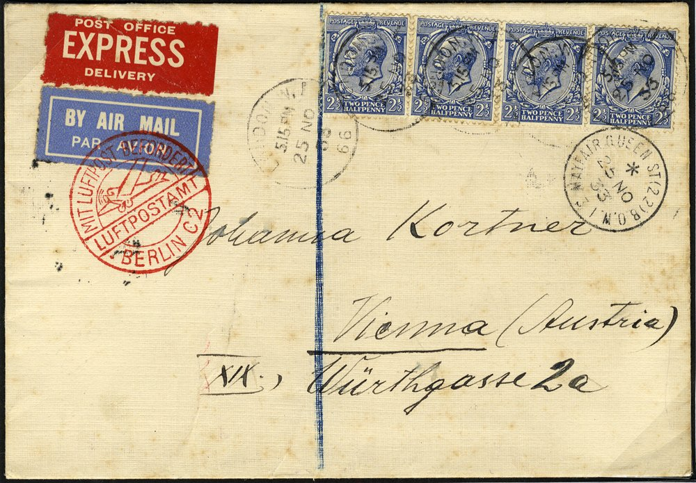 1933 Airmail Express cover franked 2½d x4 red airmail cachet