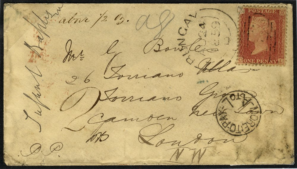 1859 cover to London 1d rose red tied Bungay sideways duplex