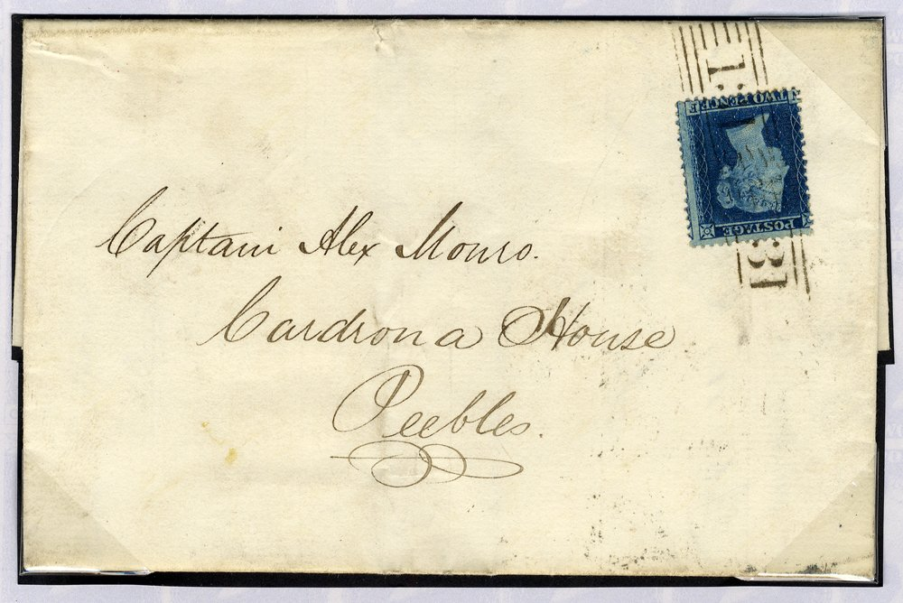 1858 cover Edinburgh to Peebles 2d Plate 5 tied Edinburgh roller