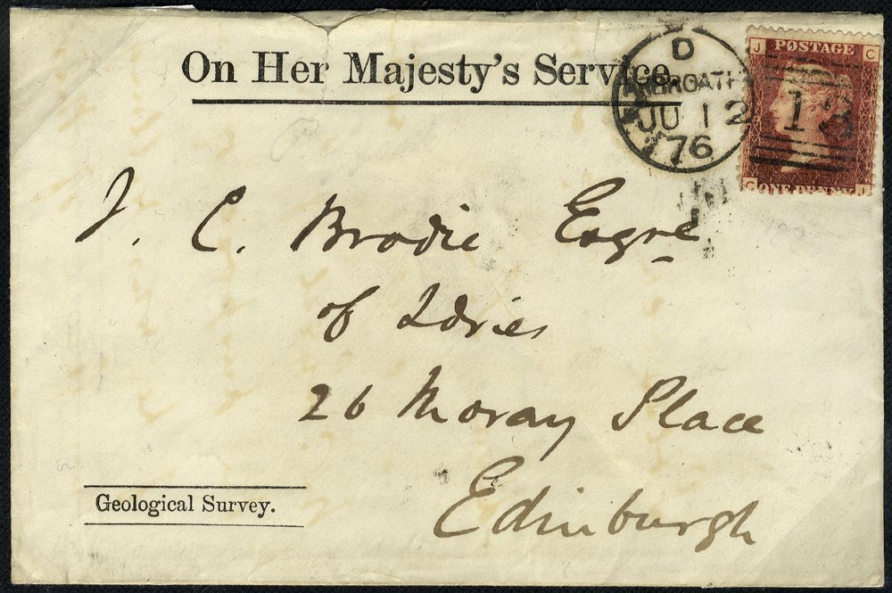 1876 OHMS Geological Survey envelope Arbroath to Edinburgh pink seal on reverse