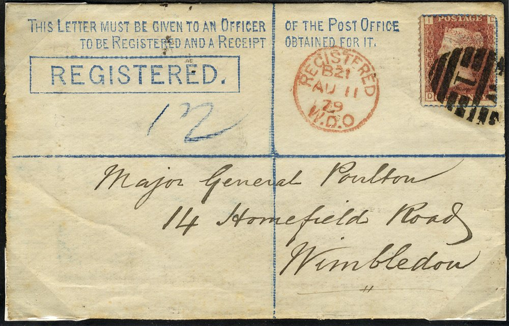 1879 2d registered envelope locally used in London