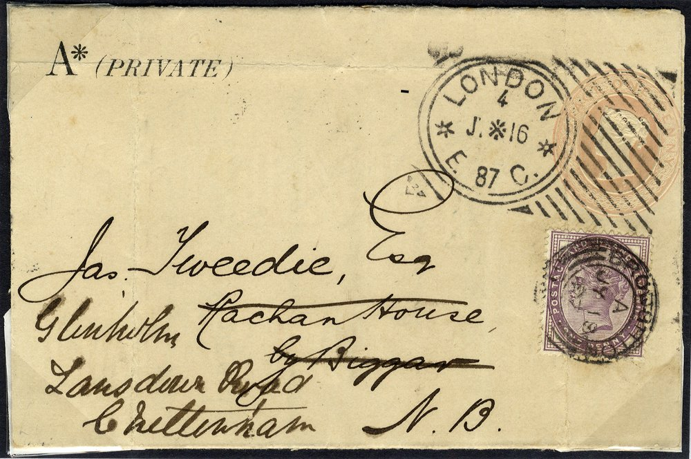 1887 1d pink envelope Hoster cancel to Biggar, North Britain