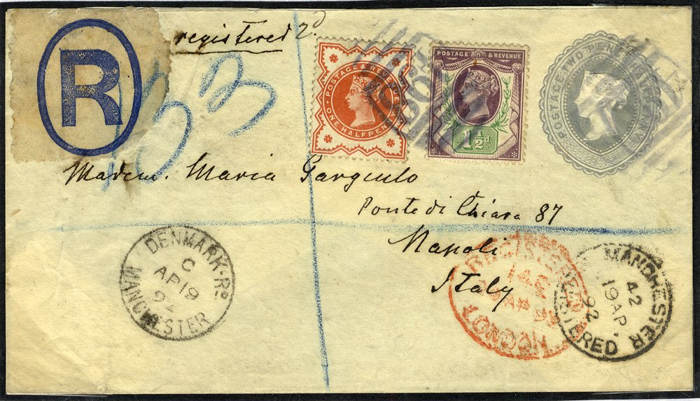 1892 2½d envelope uprated ½d & 2½d Jubilees to Italy