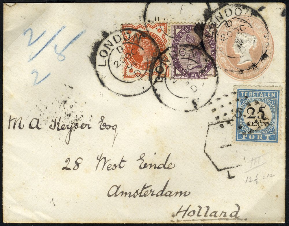 1892 1d pink envelope uprated ½d + 1d to Holland with 25c Postage Due