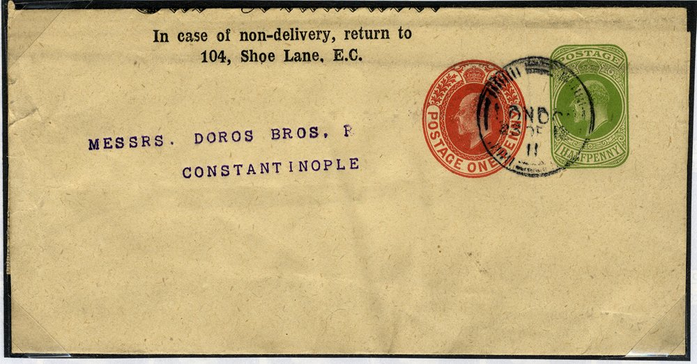 1911 S.T.O ½d + 1d stationery wrapper to Constantinople