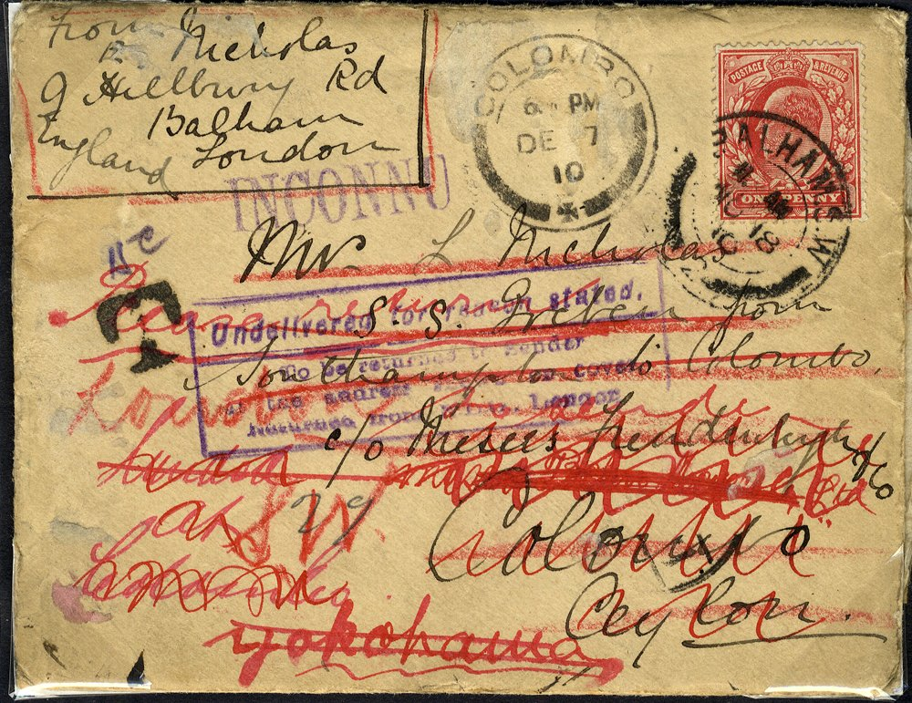 1910 cover to Ceylon forwarded to Japan via Singapore & Hong Kong