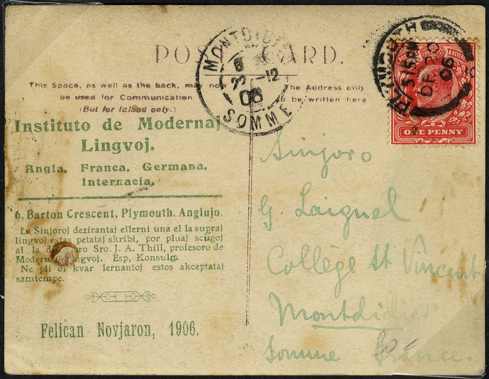 1906 Esperanto photographic card to France